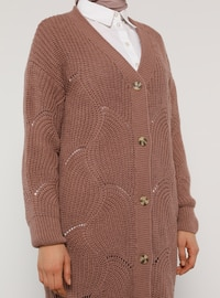 Dusty Rose - Pink - V neck Collar - Cardigan