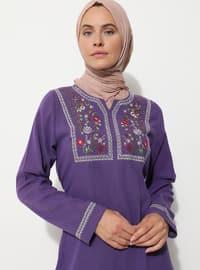 Purple - Crew neck - Unlined - - Dress