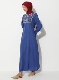 Elektrik mavisi - Yuvarlak yakalı - Astarsız - - Elbise