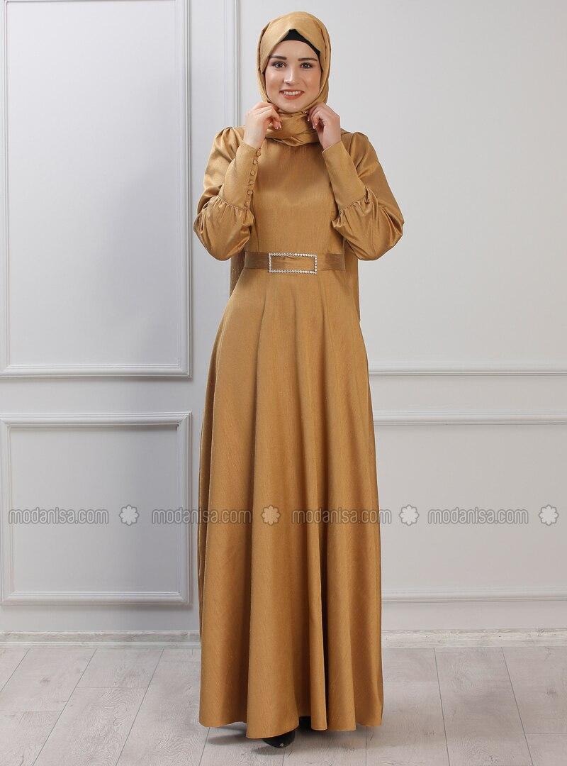 Mustard - Unlined - Crew neck - Muslim Evening Dress