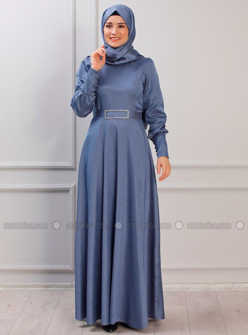 Indigo - Unlined - Crew neck - Muslim Evening Dress