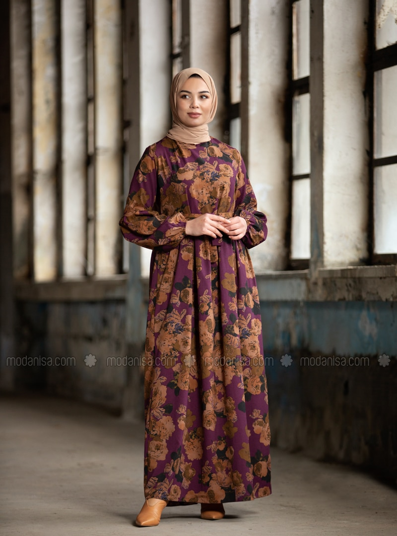 Patterned Dress - Purple