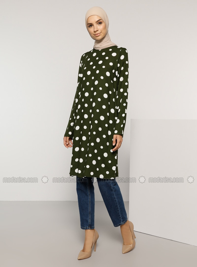 Khaki - Polka Dot - Crew neck - Viscose - Tunic