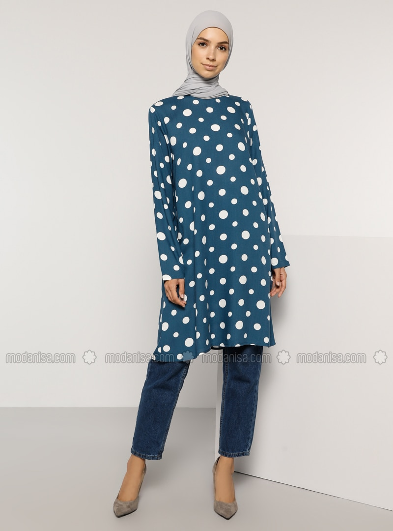 Indigo - Polka Dot - Crew neck - Viscose - Tunic
