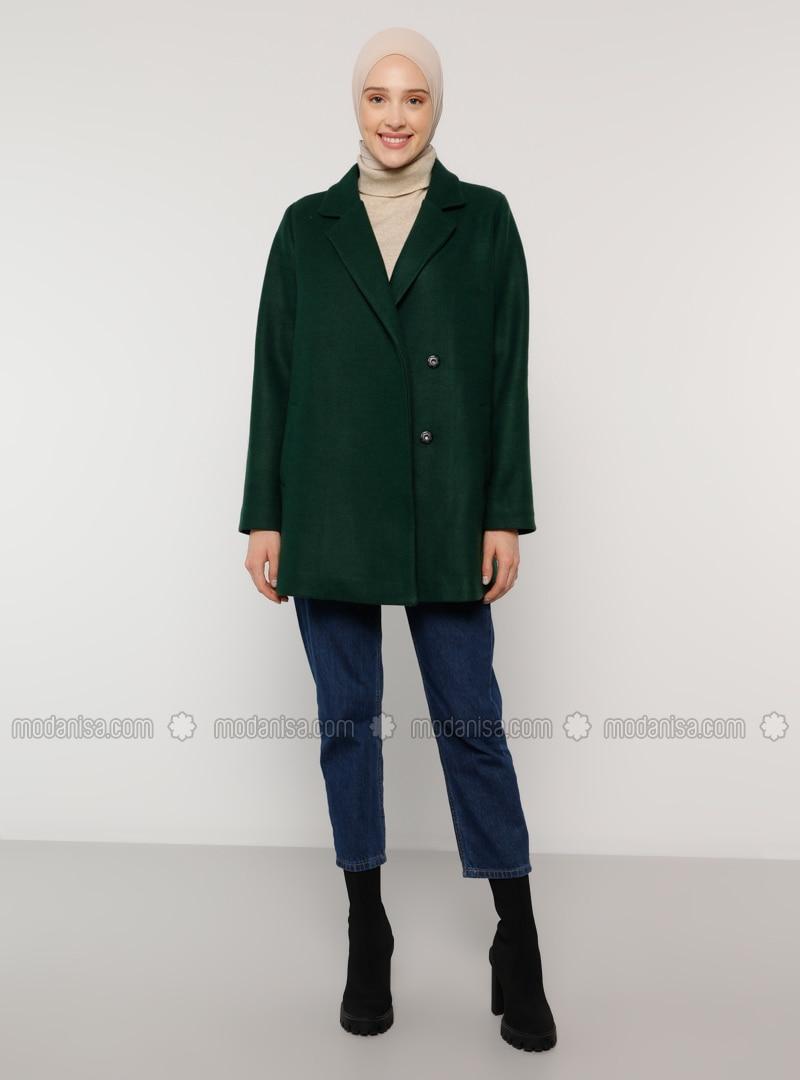 Green - Fully Lined - Shawl Collar - Coat