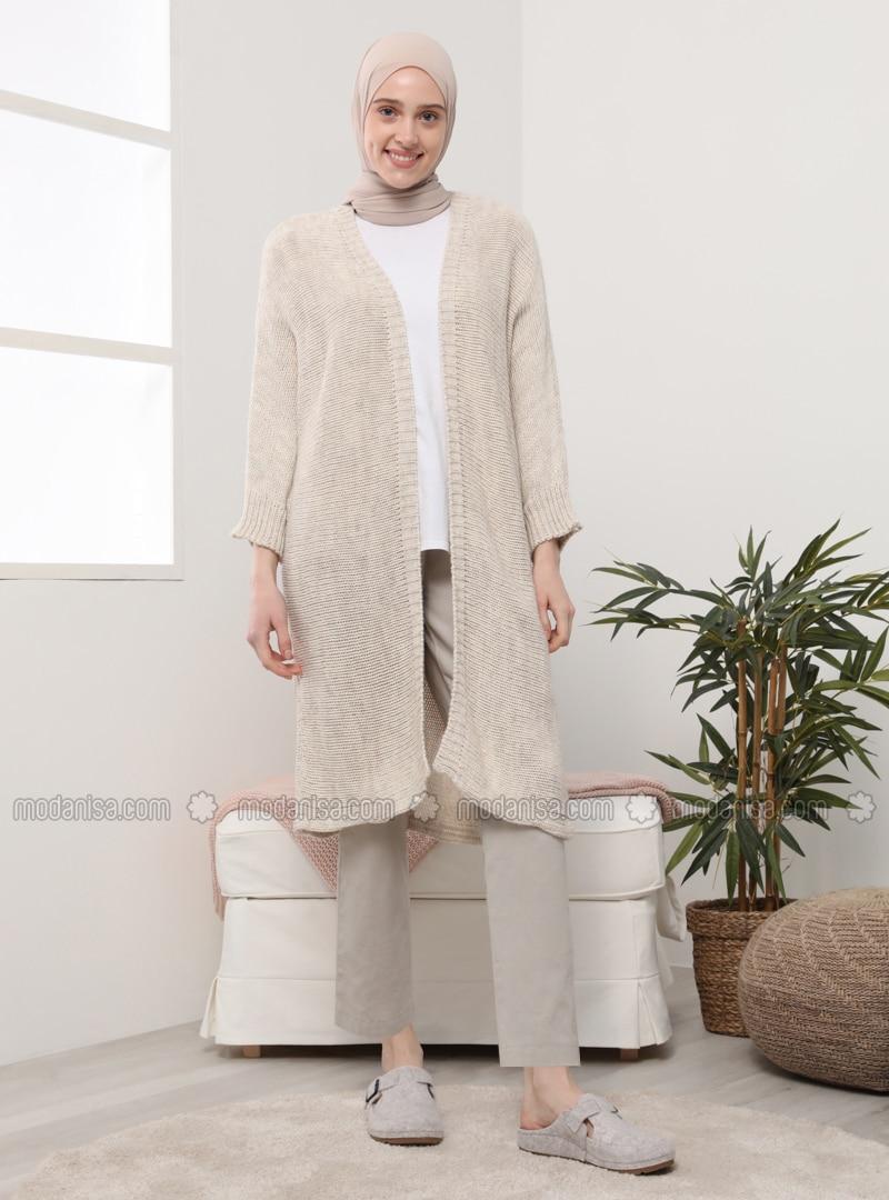 Beige - Ecru - Acrylic - - Cardigan