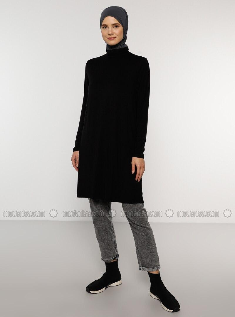 Black - Polo neck - Viscose - Tunic - Everyday Basic