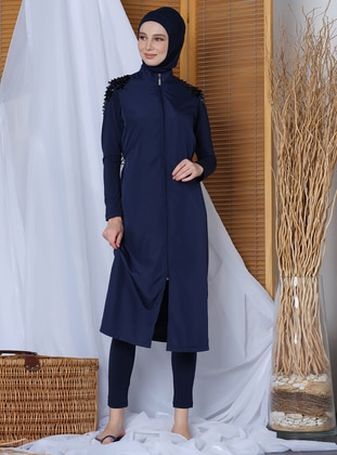 Navy Blue - Plus Size Swimsuit - Alfasa
