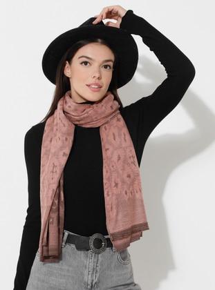 Pink - Printed - Viscose - Shawl