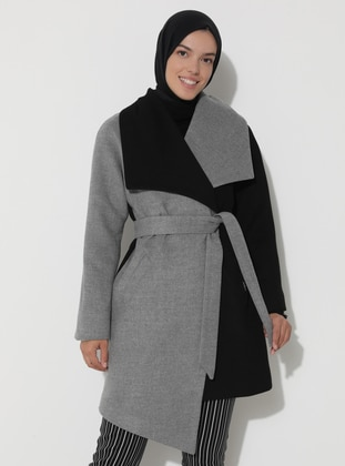 Limited Edition Wool and Cashmere Blend Coat - Gray Black