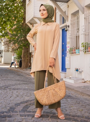 Beige - Point Collar -  - Tunic