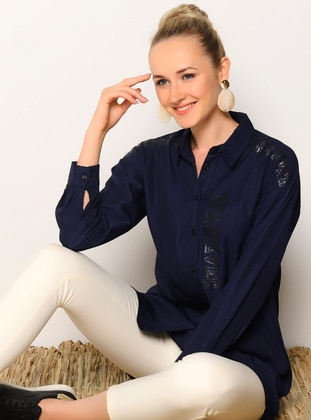 Navy Blue - Point Collar -  - Tunic