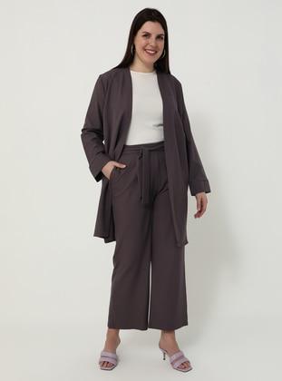 Purple - Unlined - Plus Size Suit