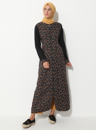 Black - Floral - Unlined - Crew neck - - Abaya