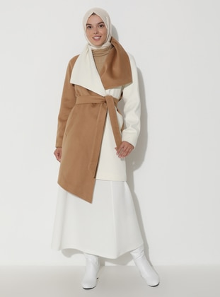White - Camel - Fully Lined - Shawl Collar - Viscose - Wool Blend - Coat