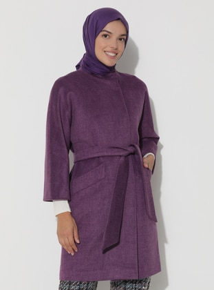 Limited Edition Wool and Cashmere Blend Snap Detailed Coat - Plum