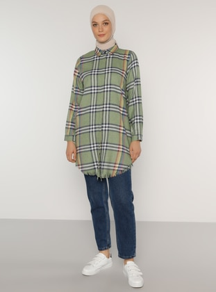 Green Almond - Plaid - Point Collar -  - Tunic