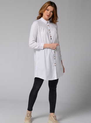 White - Point Collar -  - Tunic