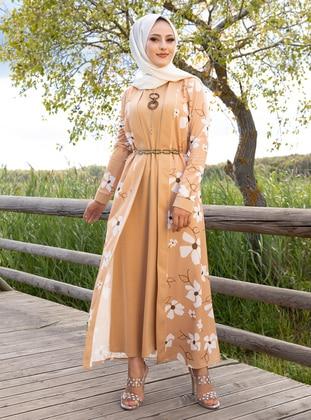 Beige - Floral - Suit