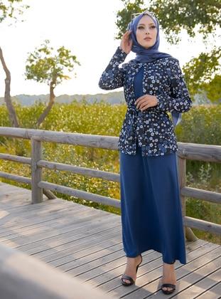 Blue - Multi - Unlined - Suit