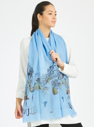 Blue - Printed - Viscose - Shawl