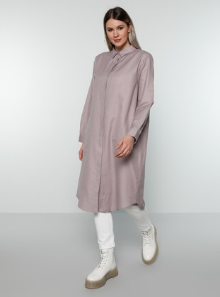 Lilac - Point Collar -  - Plus Size Tunic
