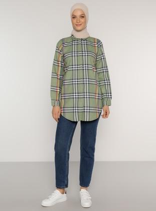Green Almond - Plaid - Point Collar -  - Tunic
