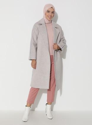 Beige - Fully Lined - V neck Collar - Viscose - Wool Blend - Coat