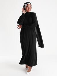 Oversize Basic Casual Dress - Black