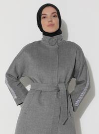 Limited Edition Wool and Cashmere Blend Snap Detailed Coat - Gray