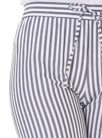White - Gray - Stripe -  - Pants