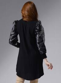 Gray - Black - Floral - Polo neck - Tunic
