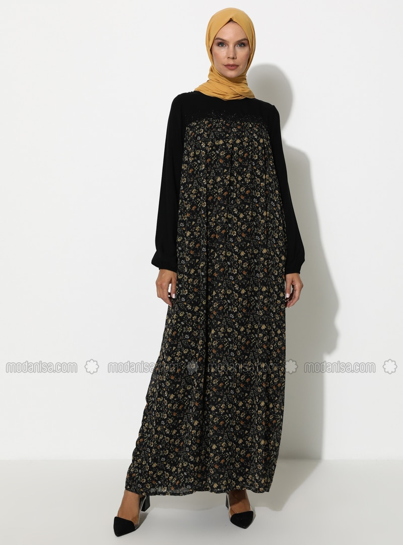 Khaki - Black - Floral - Crew neck - Fully Lined - Dress