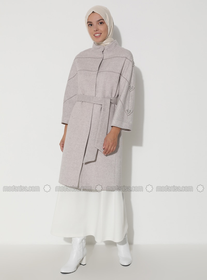 Limited Edition Wool and Cashmere Blend Snap Detailed Coat - Beige