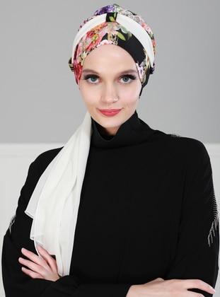 White - Plain - Cotton - Chiffon - Bonnet