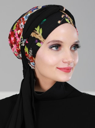 Black - Plain - Cotton - Chiffon - Bonnet