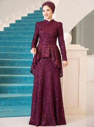 Maroon - Cherry - Fully Lined - Crew neck - Muslim Evening Dress