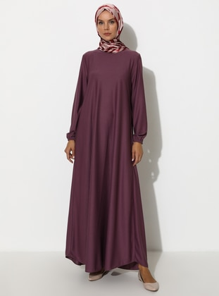 Purple - Hac ve Umre - Crew neck - Unlined - Dress - ECESUN