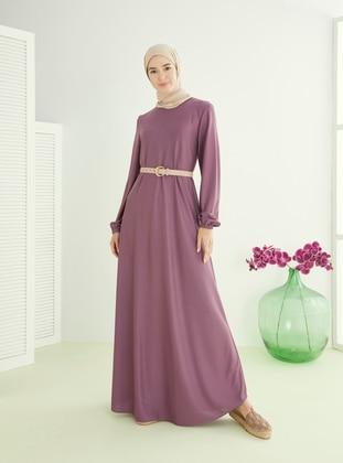 Purple - Hac ve Umre - Crew neck - Unlined - Dress