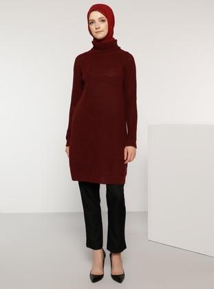 Maroon - Polo neck - Acrylic -  -  - Jumper - Tavin