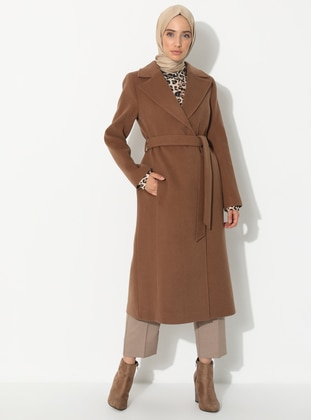 Tan - Fully Lined - Shawl Collar - Viscose - Coat