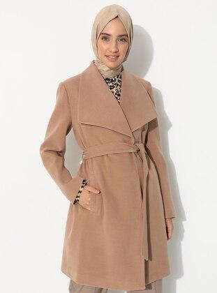 Camel - Fully Lined - V neck Collar - Wool Blend - Coat