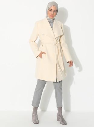 Ecru - Fully Lined - V neck Collar - Wool Blend - Coat