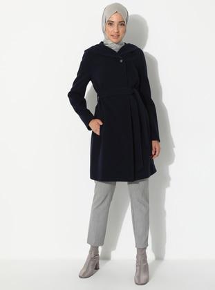 Navy Blue - Fully Lined - Point Collar - Viscose - Coat