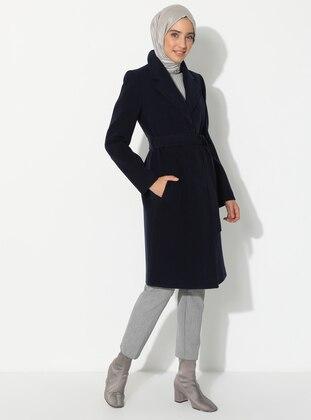 Navy Blue - Fully Lined - V neck Collar - Wool Blend - Coat
