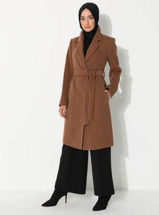 Tan - Fully Lined - V neck Collar - Wool Blend - Coat