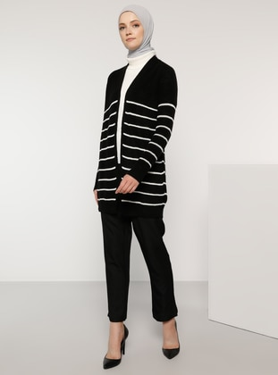 Black - Stripe - Acrylic -  - Wool Blend - Cardigan