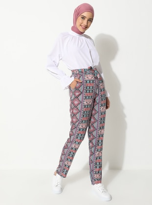 Pink - Multi - Viscose - Pants