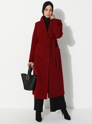 Maroon - Fully Lined - V neck Collar - Wool Blend - Coat