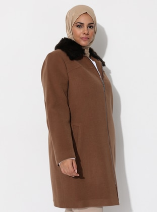 Tan - Fully Lined - Viscose - Plus Size Overcoat